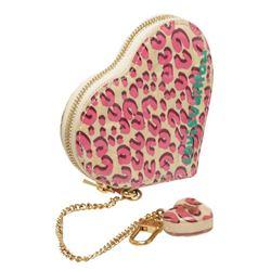 Louis Vuitton Pink Cream Cheetah Vernis Leather Heart Coin Wallet LTD