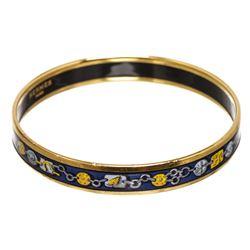 Hermes Blue Multicolor Enamel Gold Plated Bangle Bracelet