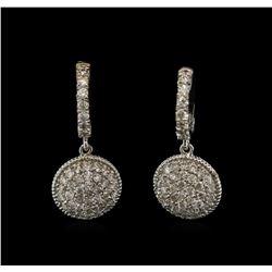 1.34 ctw Diamond Dangle Earrings - 14KT White Gold