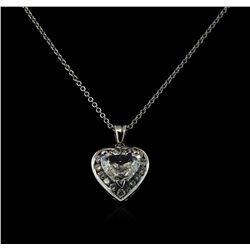 GIA Cert 2.24 ctw Diamond Pendant With Chain - 14KT White Gold