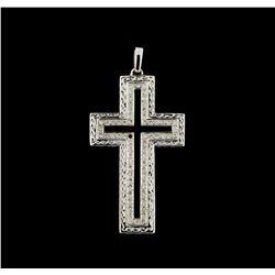 0.60 ctw Diamond and Onyx Cross Pendant - 18KT White Gold