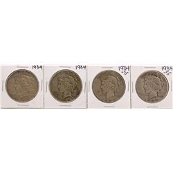 Lot of (2) 1934 & (2) 1934-S $1 Peace Silver Dollar Coins