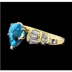3.26 ctw Blue Zircon and Diamond Ring - 14KT Yellow Gold