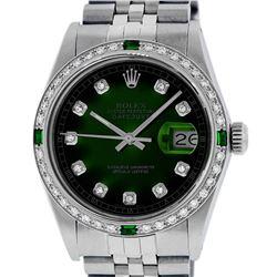 Rolex Mens Stainless Steel Green Vignette Diamond Datejust Wristwatch