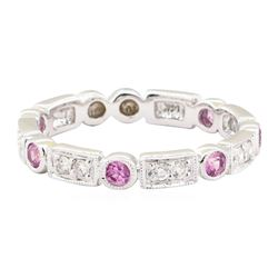 0.55 ctw Pink Sapphire and Diamond Ring - 14KT White Gold