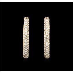 3.04 ctw Diamond Hoop Earrings - 18KT Rose Gold