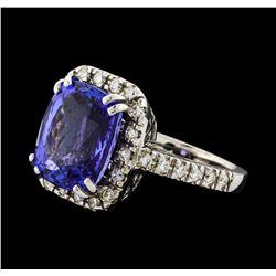 GIA Cert 9.36 ctw Tanzanite and Diamond Ring - 14KT White Gold