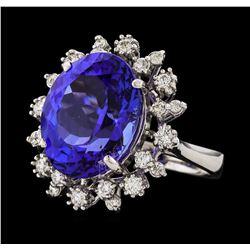 11.09 ctw Tanzanite and Diamond Ring - 14KT White Gold
