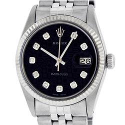 Rolex Mens Stainless Black Diamond 36MM Datejust Wristwatch