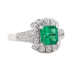 1.60 ctw Emerald and Diamond Ring - 18KT White Gold