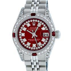 Rolex Ladies Stainless Steel 26MM Red Diamond Lugs Datejust Wristwatch