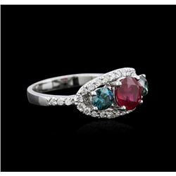 1.40 ctw Ruby and Diamond Ring - 14KT White Gold