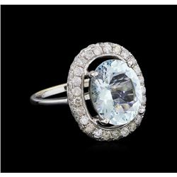 3.73 ctw Aquamarine And Diamond Ring - 14KT White Gold