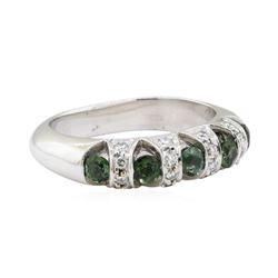 1.04 ctw Green Tourmaline and Diamond Ring - 14KT White Gold