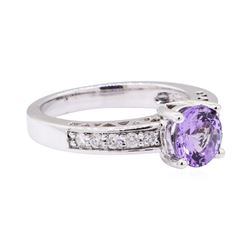 1.61 ctw Tanzanite And Diamond Ring - 14KT White Gold