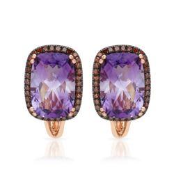 14k Rose Gold  7.10CTW Amethys and Diamond Earrings