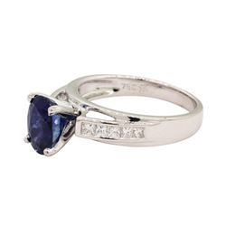 2.24 ctw Sapphire and Diamond Ring - 18KT White Gold