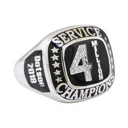 0.15 ctw Diamond Ring - 14KT White Gold with Black Enamel