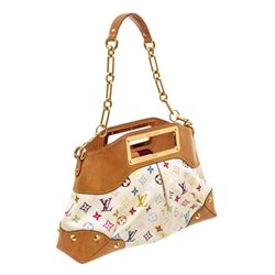Louis Vuitton White Multicolore Canvas Leather Judy MM Bag