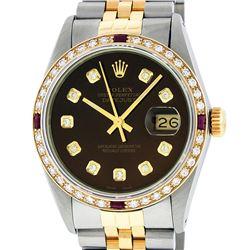 Rolex Mens 2 Tone 14K Brown Diamond & Ruby 36MM Datejust Wriswatch