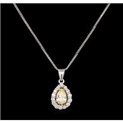 1.42 ctw Diamond Pendant With Chain - 14KT White Gold