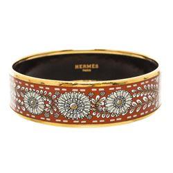 Hermes Brown White Multicolor Enamel Gold Plated Bangle Bracelet