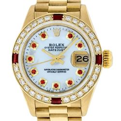 Rolex Ladies 18K Yellow Gold MOP Ruby President Wristwatch With Rolex Box & Appr