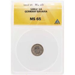 1862 Germany-Bavaria 1 Kreuzer Coin ANACS MS65