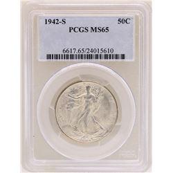 1942-S Walking Liberty Half Dollar Coin PCGS MS65