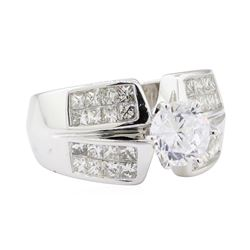 1.20 ctw Diamond Semi Mount Ring with CZ Center - 14KT White Gold