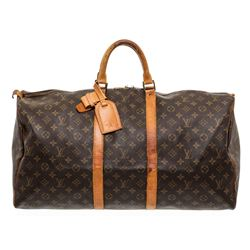 Louis Vuitton Monogram Canvas Leather Keepall 55 cm Duffle Bag Luggage