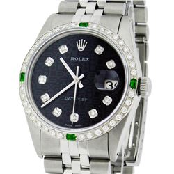 Rolex Mens Stainless Steel Black Diamond & Emerald Datejust Wristwatch