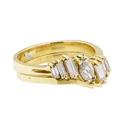 0.65 ctw Diamond Ring & Wedding Band - 14KT Yellow Gold