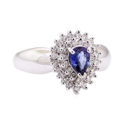 1.26 ctw Blue Sapphire and Diamond Cluster Ring - 14KT White Gold