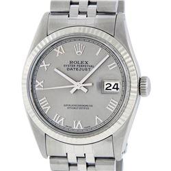 Rolex Mens Stainless Steel 36MM Slate Grey Roman Datejust Wristwatch