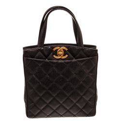Chanel Black Quilted Caviar Leather Vintage North South Tote Bag