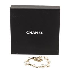 Chanel Antique Gold Faux Pearl CC Bracelet