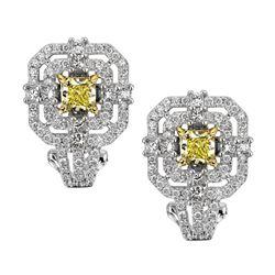 18k Two Tone Gold 1.85CTW Diamond Earrings, (VS1-SI1/SI1/VS2 /G-H/G /Nat-yel)