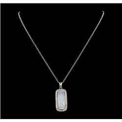 8.67 ctw Opal and Diamond Pendant With Chain - 14KT White Gold