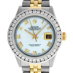 Rolex Mens 2 Tone 14K MOP Roman 3 ctw Channel Set Diamond Datejust Wristwatch