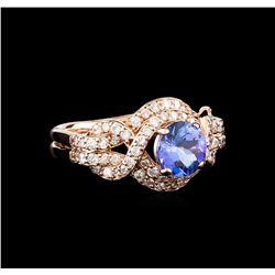 0.96 ctw Tanzanite and Diamond Ring - 14KT Rose Gold