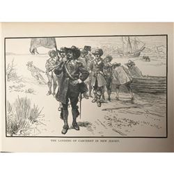 19thc Bookplate Engraving, Landing of Cateret In New Jersey