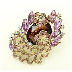 Purple Crystal Brooch Lavender Rhinestone Amethyst Broach.