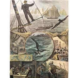 19thc Hand-colored Engraving, Fishermen, Mackeral Men