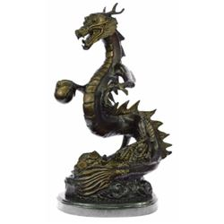 Original Limited Edition Signed Dragon by Thomas Bronze Sculpture Marble Base Statue