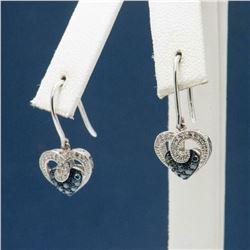 .34ctw Diamond & Sterling Heart Shaped Earrings