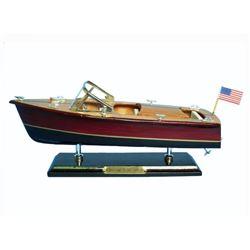 "Wooden Chris Craft Triple Cockpit Model Speedboat 14"""