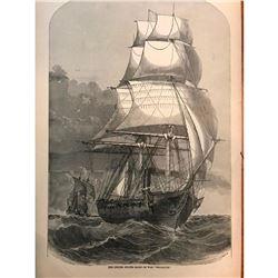 19thc Wood Cut Engraving, Sailing Vessel, War Ship Brooklyn, Long Island New York