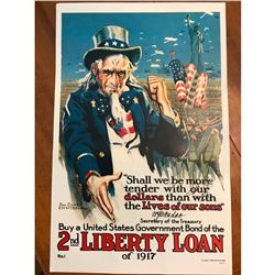 1917 WWI US Government Bonds, 2nd Liberty Loan, Uncle Sam Reproduction Poster