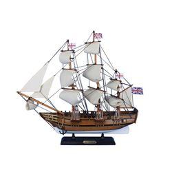"Wooden Charles Darwins HMS Beagle Tall Model Ship 20"""